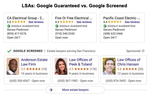 Google Screened vs. Guaranteed image